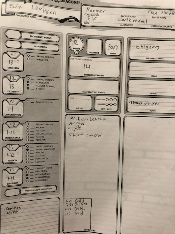 Elwin Levere D&D Character Sheet and Stats
